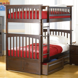 Atlantic Furniture - Columbia Twin Over Twin Bunk Bed w Raised Pan - NOTE: ivgStores DOES NOT offer assembly on loft beds or bunk beds. Includes upper and lower panels, rails, clip-on ladder, 2 slats and raised panel drawers. Mattress not included. Solid hardwood Mortise & Tenon construction. 26-Steel reinforcement points. Made of premium, eco-friendly hardwood with a 5-step finishing process. Designed for durability. Guard rails match panel design. Meet or exceed all ASTM bunk bed standards, which require the upper bunk to support 400 lbs.. Pictured in Antique Walnut finish. 1-Year manufacturer's warranty. 74 in. L x 22 in. W x 12 in. H. Clearance from floor without trundle or storage drawers: 11.25 in.. Raised panel drawers: 74 in. L x 24.38 in. W x 12 in. H. Bunk Bed Warning. Please read before purchaseThe Columbia bunk bed features a classic Mission style design with subtle curves and solid post construction.