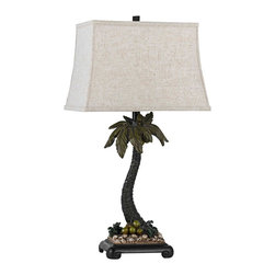 CAL Lighting - Tricorn Palm Tree Black Table Lamp - Add a sophisticated island touch to your decor with this intricately carved palm tree table lamp. Invite a palm tree into your home with this charming transitional style table lamp. The engaging sculpted tree is enhanced with a rich Tricorn black finish and natural stone tone details at the base. A rectangular off-white fabric shade adds a handsome contrast to the gentle curves of the palm tree. A great accent in a bedroom, living room or home entry.