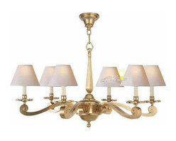 Anrtique Harbor House Copper and 6 Fabric Shades Chandelier -