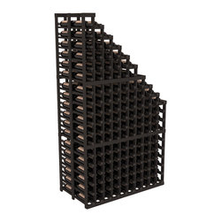 Double Deep Wine Cellar Waterfall Display Kit in Pine with Black Stain - The same beautiful cascading waterfall but in a double deep capacity. Displays 18 choice vintages in a tiered fashion. Designed within our modular specifications and to Wine Racks America's superior product standards, you'll be satisfied. We guarantee it.
