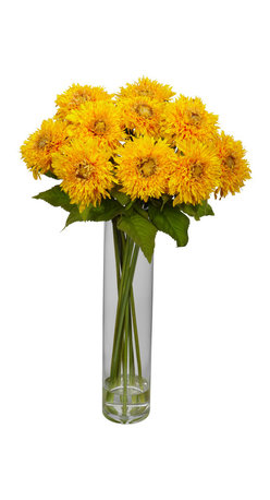 Nearly Natural - Sunflower w/Cylinder Silk Flower Arrangement - Sunflowers always seem to bring out the best in people.  Perhaps it's the name, or the bright colors.  But whatever the reason, this colorful arrangement will lighten up any room, and add a cheerfulness that was previously missing. A true classic for any decor, these are perfect for the kitchen counter, the dining room, the sunroom, an office reception area.... heck, they'd even brighten up a teenagers room!