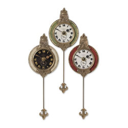 Uttermost - Uttermost Monarch Traditional Wall Clock X-64060, Set of 3 - Weathered laminated clock face with cast brass details and pendulum. Requires 1-AA battery. Set of 3