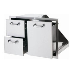 Lynx 30 in. Trash Center and Double Drawer Combo - Your outdoor kitchen just might rival your indoor kitchen when you install the Lynx 30 in. Trash Center and Double Drawer Combo. Built tough out of welded, polished stainless steel, it comes complete with a trash receptacle and two storage drawers. Full-extension stainless steel drawer glides make for easy, no-fuss operation.About Lynx Professional GrillsWhen it began in 1996, Lynx Professional Grills was committed to offering grills that elevated the outdoor cooking experience to new levels. Since then, the company has expanded its offerings to a full range of outdoor living products, including side burners, cocktail stations, refrigerators, and more. Since its founding, Lynx has set an industry standard for innovation, engineering, and design. Consumers prize the easy-to-clean, specially welded stainless steel, which endures under the harshest of outdoor conditions and delivers restaurant-quality design right to your home patio.