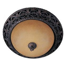 Joshua Marshal - Three Light Oil Rubbed Bronze Vintage Amber Glass Bowl Flush Mount - Three Light Oil Rubbed Bronze Vintage Amber Glass Bowl Flush Mount