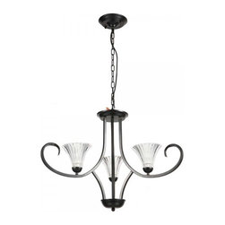 ParrotUncle - Dining Room 3 Lights Glass Shade Black Iron Chandelier - Antique and elegant, this chandelier is an eye-catching addition to your living space. This charming chandelier features a solid black iron frame and artistically curving arms holding 3 attractive glass shades shaped like flowers. It casts a warm and welcoming glow when illuminated, a perfect choice for style, ambient and comfort.
