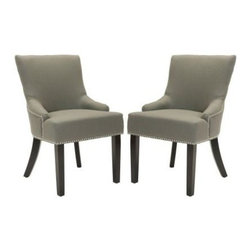 Safavieh - Lotus Kd Side Chair (Set Of 2) - Sea Mist - Straight, angular lines and simple details distinguish the padded Lotus KD side chair, in sea mist linen and legs finished in espresso. With curved rear legs, exposed nail heads and modest sloping arms, Lotus carries a contemporary, slightly masculine edge.