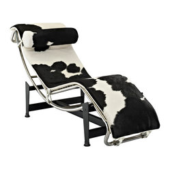Le Corbusier Style LC4 Chaise in White & Black Pony Hide