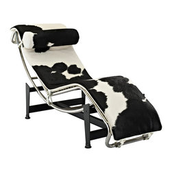 LexMod - Le Corbusier Style LC4 Chaise in White and Black Pony Hide - The Le Corbusier Chaise Lounge offers the ultimate relaxation experience. Its sleek lines definitely make a statement in any room. This lounger features a full range of reclining positions for you to enjoy, providing you with long lasting comfort and quality. The Corbusier chaise makes a great addition to your modern living style.