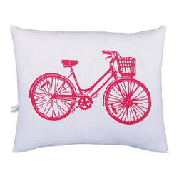 """Artgoodies - Bike Block Print Squillow Accent Pillow - A cute accent pillow for your couch, chair, or bed! An original hand carved linocut block print has been hand printed on 100% cotton, sewn together with vintage fabric, and filled with poly-fil. Features: -Fabric: Front 100% white cotton; back coordinating vintage fabric. -Size: Overall dimensions 8.5"""" by 10.5"""". -Color: Red. -Original hand carved linocut block print design by artist Lisa Price. -Coordinated with vintage fabric back and filled with poly-fil. -Hand printed and sewn in Grand Rapids, Michigan. -Please note that due to the hand-printed nature of this product, the fabric backing will vary slightly by pillow.."""