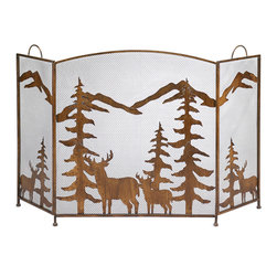 KOOLEKOO - Rustic Forest Fireplace Screen - Magnificent metalwork fire screen features cutout silhouettes of deer and mountains; absolutely magical when backlit by firelight!