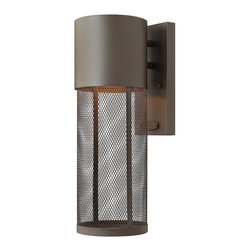 Hinkley Lighting - Hinkley Lighting Aria Contemporary Outdoor Wall Sconce - From the Aria Collection, this contemporary styled Hinkley Lighting outdoor wall sconce features clean lines and unique details that will draw the eye in and compliment a variety of architectural styles. The stainless steel mesh shade adds texture and the entire body has been finished in an earthy Buckeye Bronze hue that pulls the look together. Dark Sky Compliant.