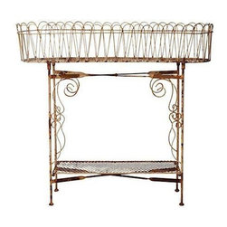 Used Wrought Iron Planter - Whether you use it to serve cold drinks or as a planter, this wrought iron stand has vintage weathered style. Perfect for a shabby chic home, how will you use it?