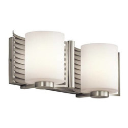 """Kichler - Kichler 45432NI Selene 2 Light Bathroom Lighting in Brushed Nickel 45432NI - This 2 light halogen wall fixture from the Selene collection will add depth and dimension to any space. The linear pattern, Brushed Nickel finish and beautiful Satin Etched Cased Opal Glass combine to create a soft, luminous glow.Fixture housing is constructed of steel - ensuring years of reliable performance Fixture sends illumination in an upward direction Kichler's line of bathroom fixtures are designed to disperse optimal light for all lavatory needs Fixture a full backplate – provides a sturdy mount and coordinated aesthetics Ultra secure mounting assemblyBase Backplate: 12.25"""" x 4.75"""" Bulb Base: G9 Bulb Type: Halogen Bulbs Included: Yes Collection: Selene Country of Origin: China Energy Efficient: No Extends: 5-1 4 Finish: Brushed Nickel Height: 5-1 4 Light Direction: Up Lighting Number of Lights: 2 Safety Rated: Damp Shade Color: White Shade Material: Glass Shade Shape: Cylinder Shade Type: Etched Style: Contemporary Voltage: 120 Wattage: 50 Weight: 4.8 Width: 16"""