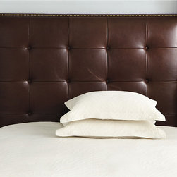 Ballard Designs - Squire Leather Headboard with Nailhead Trim - Squire Leather Headboard features:. Also available without nail head trim. Two leather color choices. Imported. Our Squire Leather Headboard is a beautifully affordable way to enjoy the rich look of a leather bed. The impressively tall, hand crafted hardwood frame is generously padded and hand covered in supple leather with leather-covered button tufts and antique brass nail head trim. Swatches Available   . . .