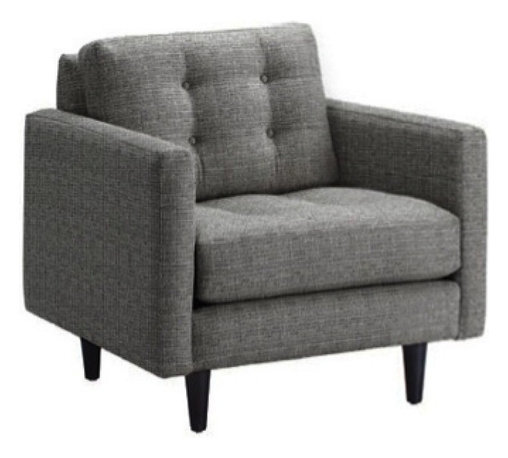 Apt2B - Beverly Chair, Smoke - With a classic boxy style straight out of the midcentury and tapered wooden legs for a hip new twist, this chair mixes retro and modern fashions like a bona fide hipster. The textured, button tufted gray upholstery adds a vintage sports coat vibe.
