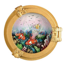 "3.5"" Polystone Porthole w/ Fish Oil Painting - The polystone porthole w/ fish scene oil painting measures 3.5""Dia. It makes a great gift and is a beautiful addition to the home, office or restaurant/bar."