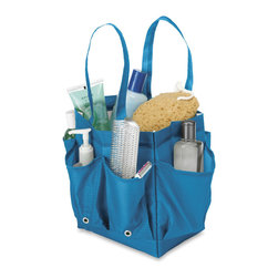 None - Portable Shower Caddy with Handles - The portable bathroom caddy is great for carrying your toiletries to the bathroom. Made of fabric in a savy blue finish,this bag features plenty of big pockets for your shower accessories. Reinforced with handle straps.