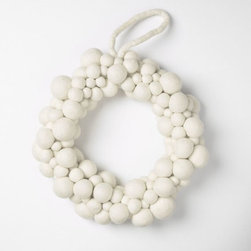 Felt White Wreath - This gorgeous felted ball wool wreath was hand-crafted by artisans in Nepal. It's simply lovely.