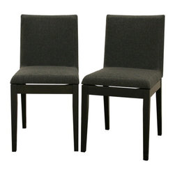 Baxton Studio - Baxton Studio Moira Black Modern Dining Chair (Set of 2) - Do not let the simplicity of the Squuare Dining Chair fool you ??? sharp, clean details fill every inch.  Delight in the sturdy solid rubberwood construction, an eco-friendly option for furniture.  Each chair is made of black wood with dark gray/black twill seats with foam cushioning.  Adding to the modern design is an intentional gap between the chair seats and their wooden bases, creating an illusion of a floating seat.  This chair is also available in brown, and both colors have matching tables (all sold separately).  Assembly is required.
