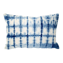Acapillow - Indigo Shibori Pillow - Indigo Shibori hand-dyed hemp pillow with linen back and zipper closure.  Care:  Dry-clean only.  Handmade in Santa Monica, California.