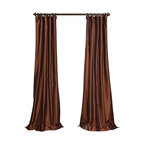 """Exclusive Fabrics & Furnishings, LLC - Copper Brown Faux Silk Taffeta Curtain - 56% Nylon & 44% Polyester. 3"""" Pole Pocket with Hook Belt. Lined. Interlined. Imported. Weighted Hem. Dry Clean Only. SOLD PER PANEL."""