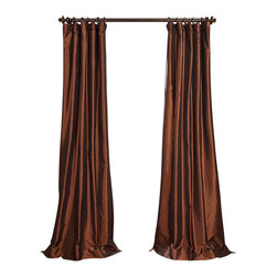 "Exclusive Fabrics & Furnishings, LLC - Copper Brown Faux Silk Taffeta Curtain - 56% Nylon & 44% Polyester. 3"" Pole Pocket with Hook Belt. Lined. Interlined. Imported. Weighted Hem. Dry Clean Only. SOLD PER PANEL."