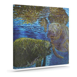 """Kess InHouse - David Joyner """"Manatees"""" Blue Green Wrapped Art Canvas (20"""" x 16"""") - Bring your outdoor patio to life with this artistic outdoor canvas wrap featuring gorgeous artwork by KESS InHouse. These canvases are not only easy to hang and remove but also are the perfect addition to your patio collection. These canvases are stretched around a wooden frame and are built to withstand the elements and still look artistically fabulous. Decorating your patio and walls with these prints will add the splash of art and color that is needed to bring your patio collection together! With so many size options and artwork to choose from, there is no way to go wrong with these KESS Canvas Wraps!"""