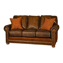 Western Rustic Rancher Leather Fabric Loveseat - The Rancher loveseat is designed and intended as a price point option within our USA made collection. Features a top grain leather that is accented with an embossed tooled leather and earthtone fabric on seat rail, sides and back. Item is made to order so please observe lead times.
