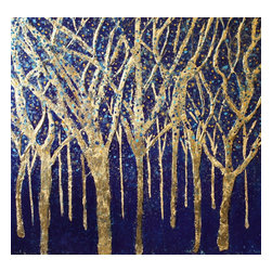Bryan Boomershine Art - Abstract Tree Landscape Painting - Title: Cobalt Forest by Bryan Boomershine