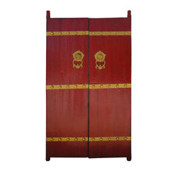 Golden Lotus - Chinese Red Antique Hardware Foo Dog Deco House Entrance Gate Wall Panel - This is a pair of Chinese red antique gate which is made of natural elm wood, and its front comes with nice hardware decoration and its handles have foo dogs designed which will protect the persons who are living the house. It was an entrance house gate, and its back can be locked by the wooden stick. Right now, people put this piece on the living room, against on the wall as a decoration panel. It is an unusual piece.