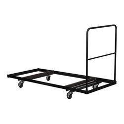 Flash Furniture - Hercules L-Shaped Steel Folding Table Dolly w - 125 in. thick L shaped steel construction. Multiple support braces. Holds 8 to 10 rectangular folding tables. Four 4 in. polyolefin swivel casters. 1 in. diameter tubular handle. Warranty: 2 year limited. Black gloss frame finish. Assembly required. 74 in. L x 31.75 in. W x 52.25 in. H (8 lbs.)74 in. W x 31.75 in. D x 52.25 in. H (8 lbs.)