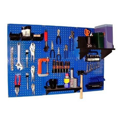 Wall Control Pegboard Standard Tool Storage Kit - Blue - The Wall Control Pegboard Standard Tool Storage Kit – Blue lets you maximize your garage, den, or toolshed's floorspace. The three pegboard panels included with this kit mount easily to any wall with the included hardware (no frame is necessary), providing plenty of space to store and organize all of your tools. The boards are made from 20-gauge steel and features a powder-coated scratch-resistant blue finish. Also included in this set are: 20 assorted hooks/brackets, a 6-inch shelf assembly, a 9-inch shelf assembly, a hammer hanger, a screwdriver holder (for up to six screwdriver), and 3 hanging storage bins for loose hardware. The accessories are available in your choice of black, blue, red, or white. Tools are not included.About Wall Control For over a decade, Wall Control have provided home handymen and do-it-yourselfers with simple, easy-to-install wall storage available in a variety of colors and styles to suit any room in your home. Domestically based in Tucker, Georgia, Wall Control ensures quality American craftsmanship that's guaranteed to last a lifetime and looks great while doing so. Its patented designs are here to make your life easier, made from sturdy materials that let you customize any room in your home the way you see fit.