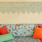 Moroccan Lace Stencil - Moroccan Lace Border Wall Stencil from Royal Design Studio Stencils. This beautiful handpainted wall border adds ethnic flair to living rooms, bedrooms and dining rooms. This can be painted at the chair rail or from the ceiling line to add height to a room.