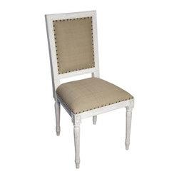 NOIR - NOIR Furniture - REGENCY SIDE CHAIR - GCHA125SC, White Wash - Features:
