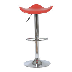 Eurostyle - Fabia Bar/Counter Stool-Red/Chrm - The fluid design of this stool seems fitting, considering it's for your bar or counter. Let the libation flow as you ride the wave-inspired seating area.
