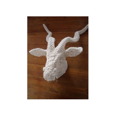 Eco Friendly Furnture and Lighting - chunky cotton string knit kudu wall hanging/ light.