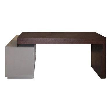 J&M Furniture - S005 Modern Office Desk in Grey High Gloss / Wenge - The useful and fashionable desk features a built in bookshelf ideal for storage  organization. S005 Modern Office Desk in Grey High Gloss / Wenge is a mix of functionality and great style.    Features: