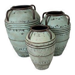 ecWorld - Urban Designs Artisan Large Rustic Decorative Metal Planter Vase 3-Piece Set - Give large botanicals a striking planter in which to flourish. Handcrafted with a rustic seafoam finish that reveals brown undertones for tonal depth. Eye catching and perfect decorative pieces for an office, home, patio or garden.