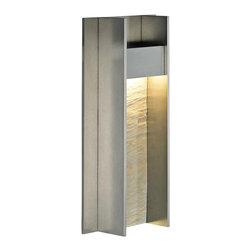 "LBL Lighting - LBL Tav 14"" High Gunmetal LED Outdoor Wall Light - Imbue the exterior of your home with stylish modernity using this wall sconce. A clean cool gunmetal finish is both sleek and sophisticated. Plus you'll get energy efficiency with LED lamping. Tav 14 Collection outdoor fixture. Gunmetal finish. Textured stone decorative insert. Mounts down only. For wet locations. ADA compliant. Includes one 11 watt LED module. LED module. Lumens: 840 Kelvin: 3000K CRI: 80. Dimmable with a low-voltage electronic dimmer. 14"" high. 7"" wide. 3 2/5"" extension.   Tav 14 Collection outdoor fixture.  Gunmetal finish.  Textured stone decorative insert.  Mounts down only.  For wet locations.  ADA compliant.  Includes one 11 watt LED module.  LED module. Lumens: 840 Kelvin: 3000K CRI: 80.  Dimmable with a low-voltage electronic dimmer.  14"" high.  7"" wide.  3 2/5"" extension."