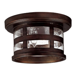 Capital Lighting - Capital Lighting Mission Hills Traditional Outdoor Flush Mount Ceiling Light X-B - The Burnished bronze finished frame creates a patterned look in a rectangle shaped detail. The seeded glass shade provides a contrasting effect to the Capital Lighting Traditional outdoor flush mount ceiling light. It makes the surrounding in the outdoor setting brighter and elegant.
