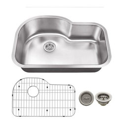 Schon - Schon 18-Gauge 31-1/2 x 20 1/8 Curved Back Sink - SCSBE18 18 Gauge Schon Undermount Sink Stainless Steel Single Bowl with Curved Back 31 1/2 x 20 1/8, Grid, Strainer