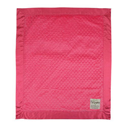 """Dot Velour Baby Blanket, Raspberry - These velour baby blankets, embossed with a raised dot texture, have become a My Blankee best seller. A celebrity among baby shower gifts, the Dot Blanket also comes in a selection of over twenty-one eye catching colors ranging from soft pastels to bright and vibrant hues, all lined with a matching 3"""" satin ruffled border to make this a luxury baby blanket with personality."""