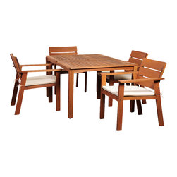International Home Miami - Amazonia Nelson Eucalyptus 5 Piece Rectangular Dining Set - Nelson Eucalyptus 5 Piece Rectangular Dining Set belongs to Amazonia Collection by International Home Miami Great Quality, elegant design patio set, made of solid eucalyptus wood. FSC (Forest Stewardship Council) certified. Enjoy your patio with style with these great sets from our Amazonia outdoor collection.  Table (1), Chair (4)