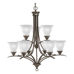 Progress Lighting - Progress Lighting P4329-20Ebwb 9-Light Chandelier With Etched Glass Shades - Nine-light, 2-tier chandelier with etched glass, Antique Bronze finish and refreshing, romantic forms.