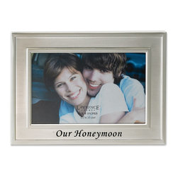 "Lawrence Frames - Brushed Metal 4x6 Our Honeymoon Picture Frame - Sentiments Collection - Gorgeous brushed satin silver plated and lacquer coated metal expression frame. The words ""Our Honeymoon"" are embossed and accentuated in black. This item is made with exceptional quality. Includes black velvet easel backing for tabletop display."