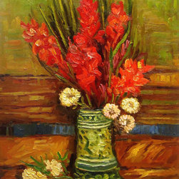 "overstockArt.com - Van Gogh - Vase with Red Gladioli - 20"" X 24"" Oil Painting On Canvas Hand painted oil reproduction of a famous Van Gogh painting, Vase with Red Gladioli . The original masterpiece was created in 1886. Today it has been carefully recreated detail-by-detail, color-by-color to near perfection. Vincent Van Gogh's restless spirit and depressive mental state fired his artistic work with great joy and, sadly, equally great despair. Known as a prolific Post-Impressionist, he produced many paintings that were heavily biographical. This work of art has the same emotions and beauty as the original. Why not grace your home with this reproduced masterpiece? It is sure to bring many admirers!"