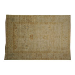 100% Wool Beige Oushak Washed Out 10'x14' Hand Knotted Oriental Rug SH16873 - Hand Knotted Oushak & Peshawar Rugs are highly demanded by interior designers.  They are known for their soft & subtle appearance.  They are composed of 100% hand spun wool as well as natural & vegetable dyes. The whole color concept of these rugs is earth tones.