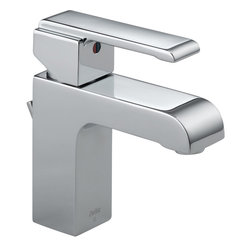 Delta - Arzo Single Handle Bathroom Faucet in Chrome - Delta 586LF-MPU Arzo Single Handle Bathroom Faucet in Chrome. Delta Faucets are a reflection of your personality � they complement you, your style, your life, the way you think, work and move throughout the day.  Inspired by geometric designs found in mid-century modern furniture, Arzo  makes a bold statement in understated fashion.  The 4 in. fixed spout provides plenty of space and easy access to water when you are washing your hands or brushing your teeth. The single lever handle help pull together the contemporary and sophisticated styling of this faucet.  Getting ready in the morning is far from routine when you are surrounded by a bath that reflects your personal style.Delta 586LF-MPU Arzo Single Handle Bathroom Faucet in Chrome, Features:1.5 gpm, 5.7 L/min