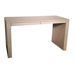 Parson's Panel Desk - Parson's Panel Leg Desk with two pencil drawers. Shown wrapped in textured vinyl. Available to any custom dimensions and specifications. Available wrapped in grasscloth and other materials, lacquered or wood construction, all hollow form steel or solid acrylic.