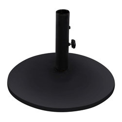 """Umbrella Stand - My skin needs shade, but I need to not have to fuss with an unruly umbrella. This concrete and steel stand ensures my shade source won't going flying when there's a gust of wind.Dimensions: 20"""" diam. x 13.5""""H."""